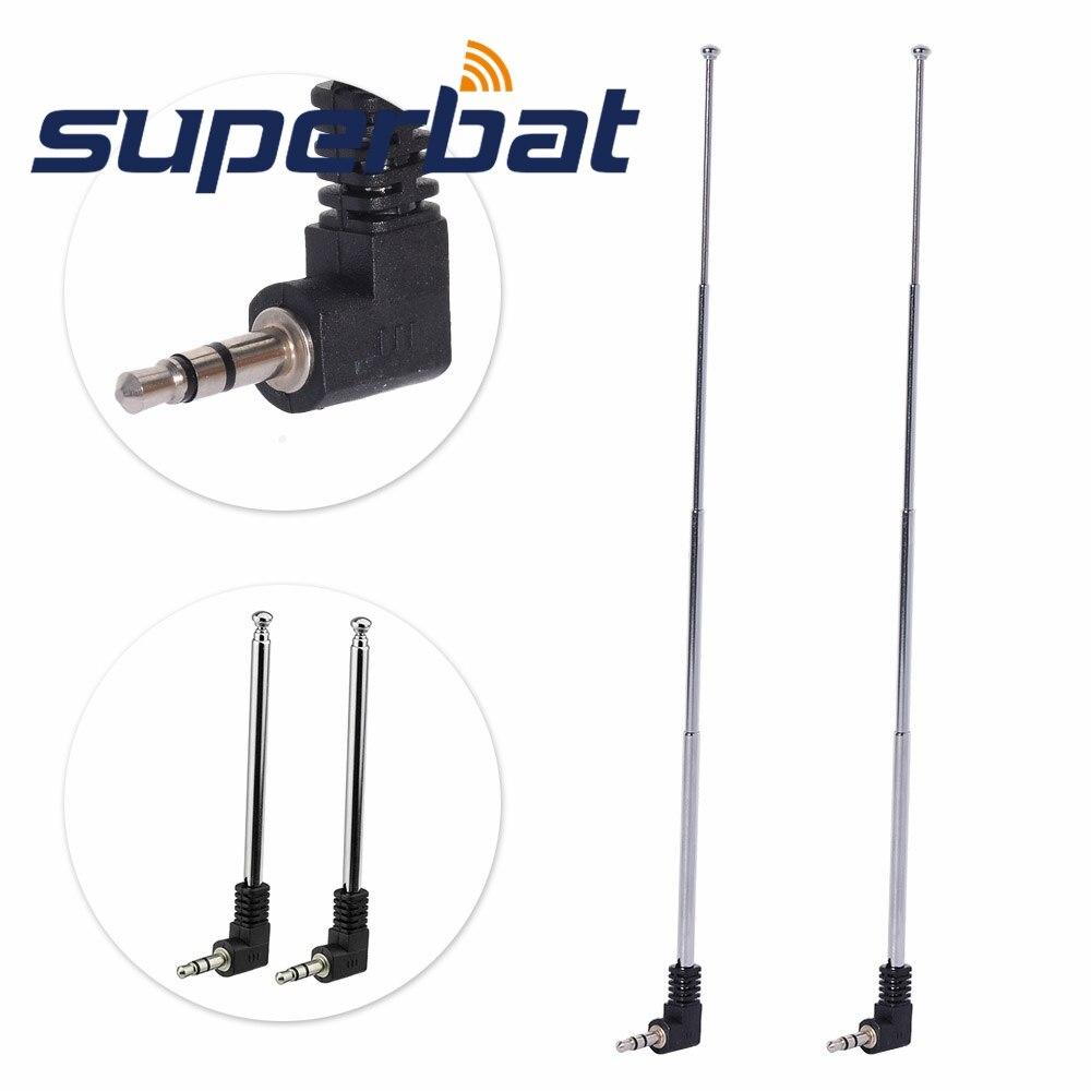 Superbat 2pcs 3.5mm FM Radio Black Silver Tone Unstretched Antenna For Mobile Cell Phone 8.5cm/21cm