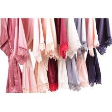 Rendas de seda Robe, Monocromático robe, Vestes de Cetim Da Dama de Honra, Noiva Do Laço Robe, Presentes Da Dama de honra, mulheres robe A9007