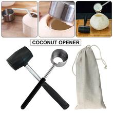 Long-Lasting Food Grade Practical Lightweight Coconut Opener Tool Set Handle Stainless Steel With Wooden Mallet