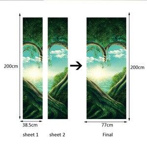 Image 4 - Serce zielony drzewa roślin 3D drzwi naklejki DIY Mural imitacja wodoodporna tapeta z PCV naklejki ścienne sypialnia wystrój domu