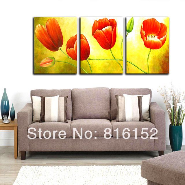 piece set wall art red tulip floral picture canvas prints painting