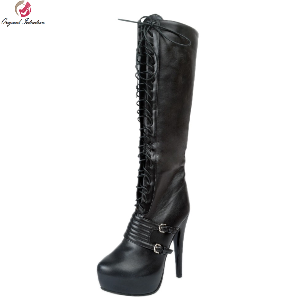 Original Intention New Sexy Women Knee High Boots Fashion Round Toe Thin Heels Winter Boots Black Shoes Woman US Size 4-15 original intention new design women knee high boots fashion round toe square heels boots popular black shoes woman us size 4 13