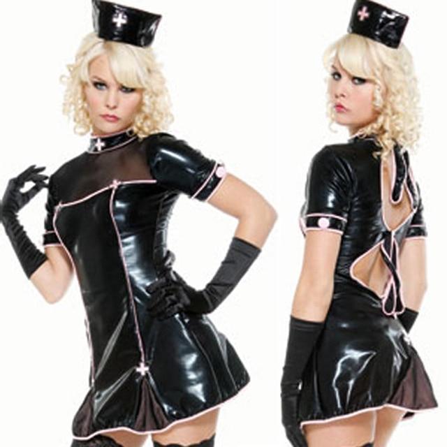 Fast Delivery Latex Black Bodycon Mini Dress Halloween