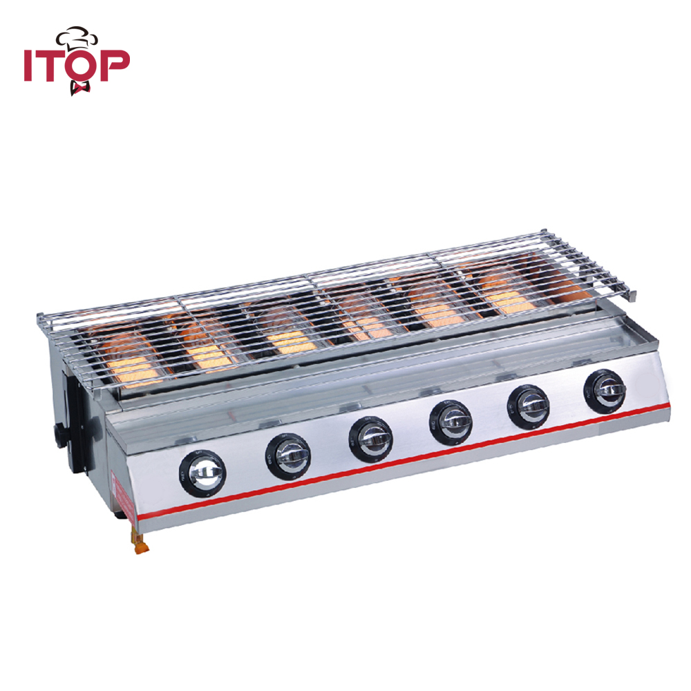 ITOP 6 Burners Gas BBQ Grills Non stick LPG Griddle Barbecue Grills For Outdoor Household Commercial