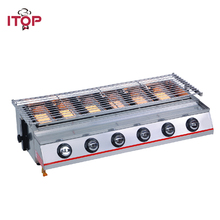 ITOP 6 Burners Gas BBQ Grills Non-stick LPG Griddle Barbecue Grills For Outdoor Household Commercial Kitchen BBQ Tools цена и фото