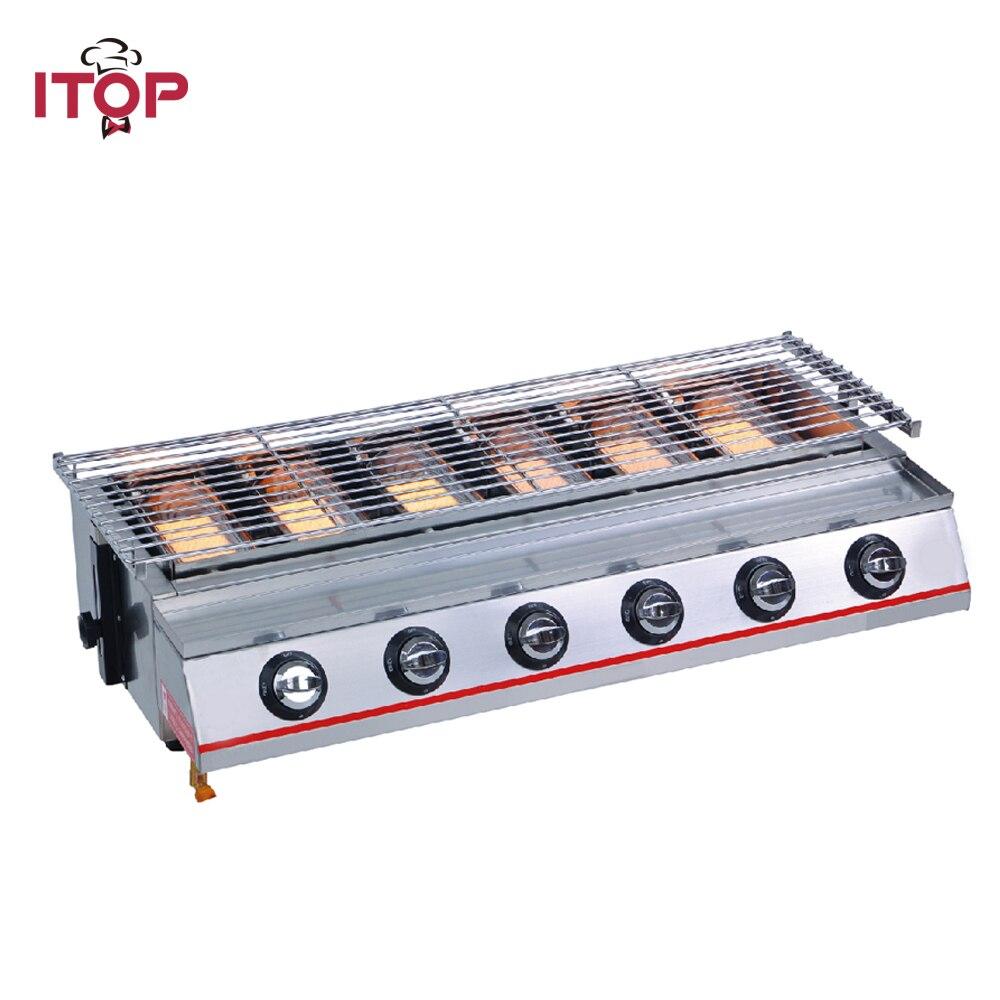 ITOP 6 brûleurs à gaz Barbecue Grills anti adhésif LPG plancha Barbecue Grills pour extérieur ménage cuisine commerciale BBQ outils-in Grills et planchas électriques from Appareils ménagers    1