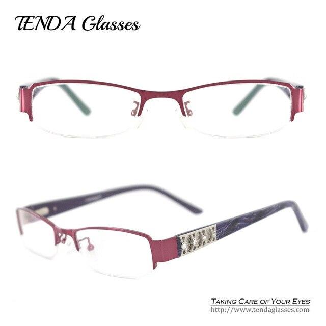 Металл Половина Обод Моды Дизайнер Женщины Очки Очки Для Рецепта Очки С Бриллиантами Кристалл