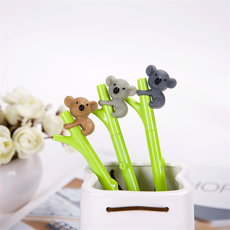 1pcs 0.5mm Creative Cute Koala Branches Black Ink Gel Pen Signing Pen Writing Tool School Office Supply Student Stationery
