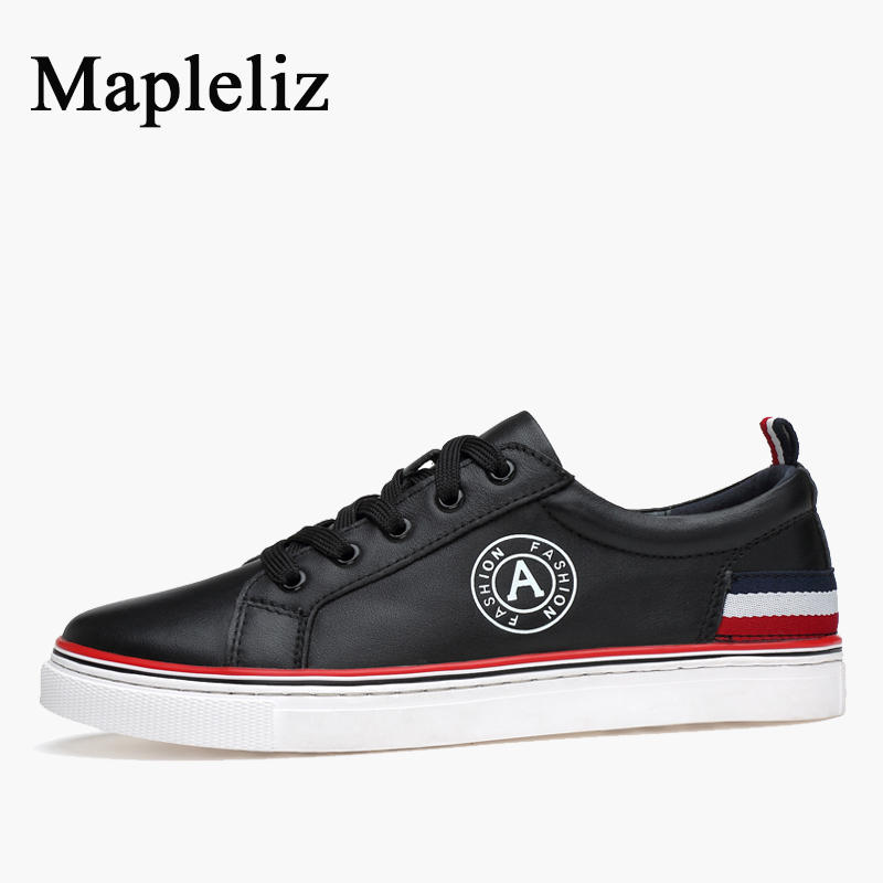 Mapleliz Brand Men Casual Shoes Lace-up Genuine Cow Leather Spring Hot High Quality Male Flats Leisure Big Size Shoes for Men relikey brand men casual handmade shoes cow suede male oxfords spring high quality genuine leather flats classics dress shoes