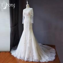 Blanco de La Sirena Capilla Tren Vestido de Novia Hecho A Mano Con Lentejuelas Apliques de Novia Vestido Formal vestido de noiva Sirena Vestidos de Novia