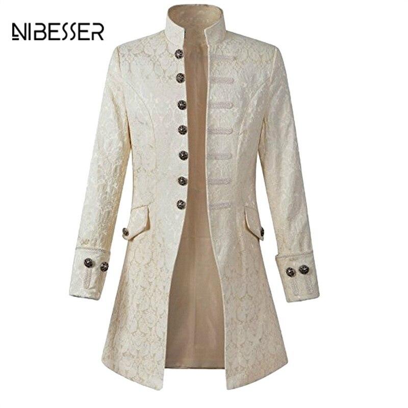 NIBESSER в винтажном стиле, с длинным рукавом Для мужчин пальто мода плюс Размеры Готический Brocade куртка сюртук бархатной отделкой стимпанк кур... ...