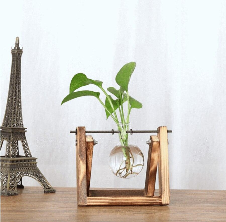 Kreative Anlage Glas Hydrokultur Container Terrarium Schreibtisch Dekor mit Holz Ständer Blume Topf Home Dekoration