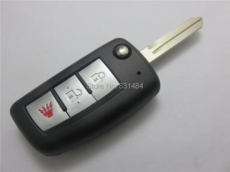 Prix pour 2 + 1 Boutons Smart Flip Pliant À Distance Shell Key Case Fob Pour nissan Avec logo