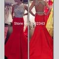 De lujo de Alta Calidad Sin Mangas Rojo Con Cuello Redondo Largo Sirena Vestidos de Baile 2016 de Satén Espalda Abierta Partida de Longitud Vestido de Fiesta
