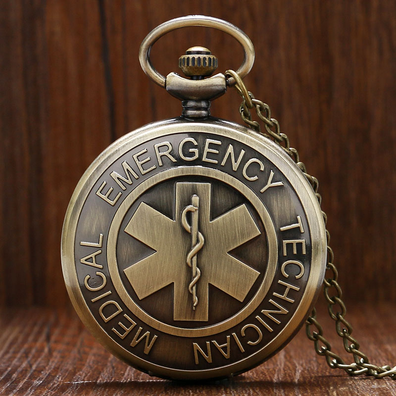 Bronze Vintage EMT Emergency Medical Technician Paramedic Badge Nurse Pocket Watch Woman Men Necklace Pendant Birthday Gift P950