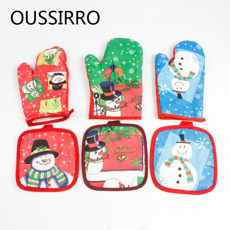 Oven Mitts & Oven Sleeves Home & Garden Christmas Microwave Oven Mitt Insulation Gloves Pot Holder Thicken Non-slip Kitchen Cooking Baking High Temperature Oven Glove Low Price