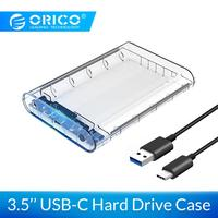 ORICO 3.5 inch SATA to USB 3.1 Type C Transparent HDD Case SSD Adapter for Hard Disk Drive Box External Storage HDD Enclosure
