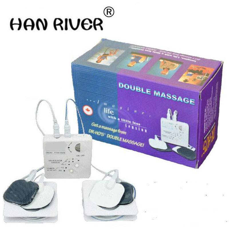 high quality 'S 12 Modes Dual Muscle Therapy System Massager hot selling 2017 hot sale mini electric massager digital pulse therapy muscle full body massager silver