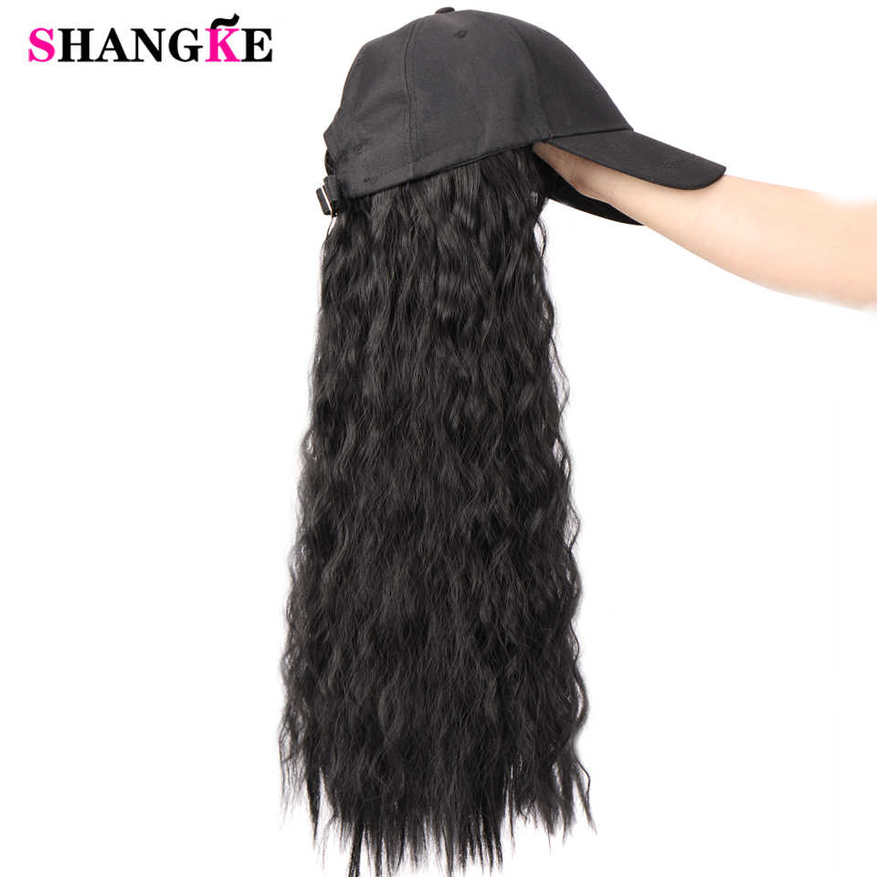 2019 New Hat Wig with Hat a Integrated Long Synthetic Hair Hair Extension Heat Resistant Hairpiece Natural Wavy Hair