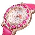 2017 Hello Kitty Luxury Brand Crystal Rhinestone Quartz Watches Wach Women Girls Dress Wristwatch Relojes Mujer Relogio