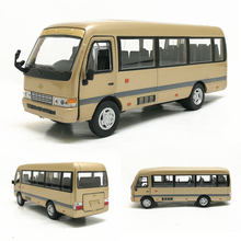 1:32 Scale Toyota Coaster Business Bus Car Model Coche Simulation Metal Vehicles Toys for Children Gifts