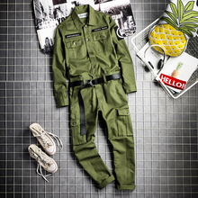 2019 new fashion simple tooling jumpsuit male hip hop Korean version of the tide loose casual