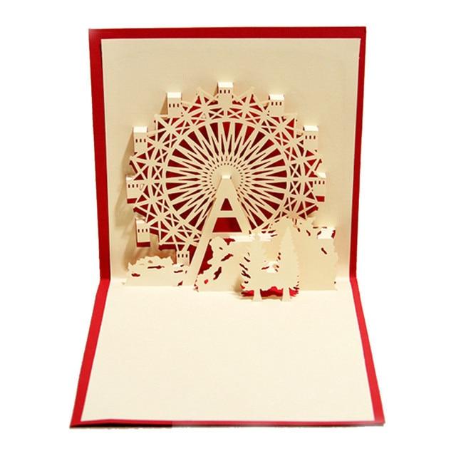 Aliexpress buy romantic birthday greeting card happiness romantic birthday greeting card happiness ferris wheel creative 3d pop up greeting cards postcard wedding party m4hsunfo