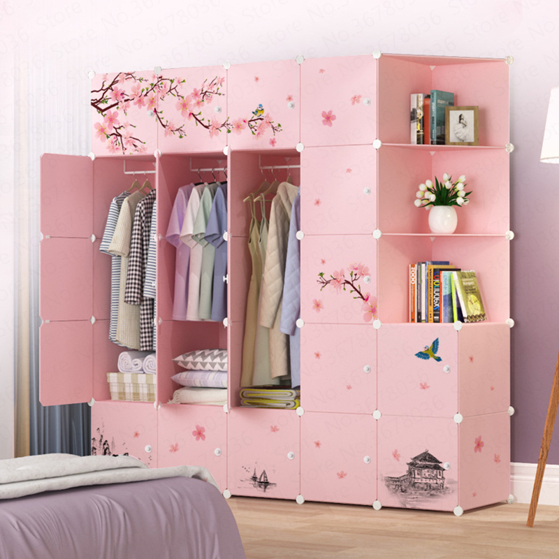 Ardrobe Simple Assembly Plastic font b Closet b font Bedroom Folding Storage Cabinet Simple Modern Economical