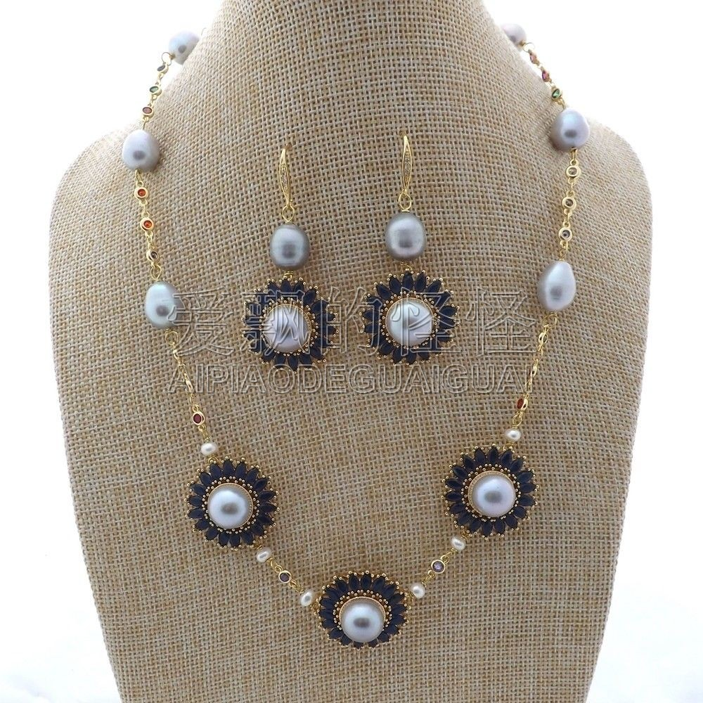 S011907 19'' Gray Pearl Chain CZ Pave Flower Necklace Earrings Set