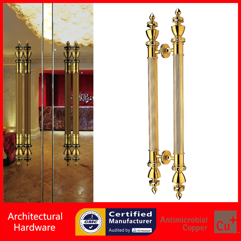 High-grade Golden Entrance Door Pull Handle Made Of Copper Available For Entry Gate Wooden/Glass/Metal Doors PA-268-51*1000mm antimicrobial environmental wood pull handle pa 710 entrance door handles for entry glass shop store doors