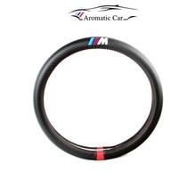 Diameter 38cm M power Sport logo carbon fiber Steering Wheels cover For BMW F07 F10 F25 F26 E39 E46 E30 E60 E90 F30 X1 X3 X5