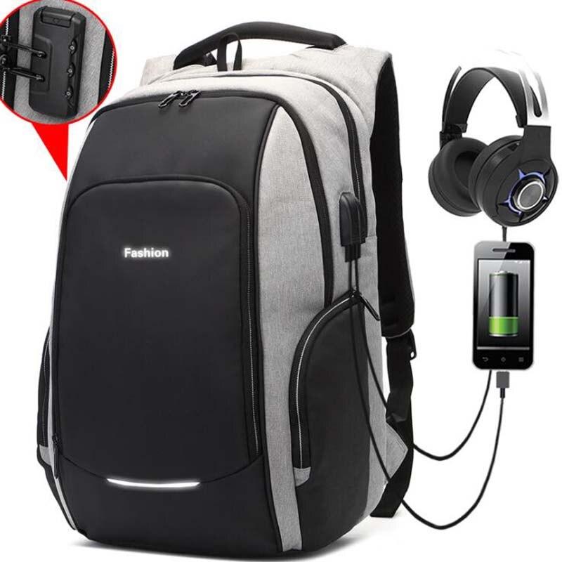 17 Inch Laptop Backpack USB Charging Anti Theft Backpack Men Travel Backpack Waterproof School Bag Male Mochila anti theft backpack usb charging men laptop backpacks for teenagers male mochila waterproof travel backpack school bag dropship