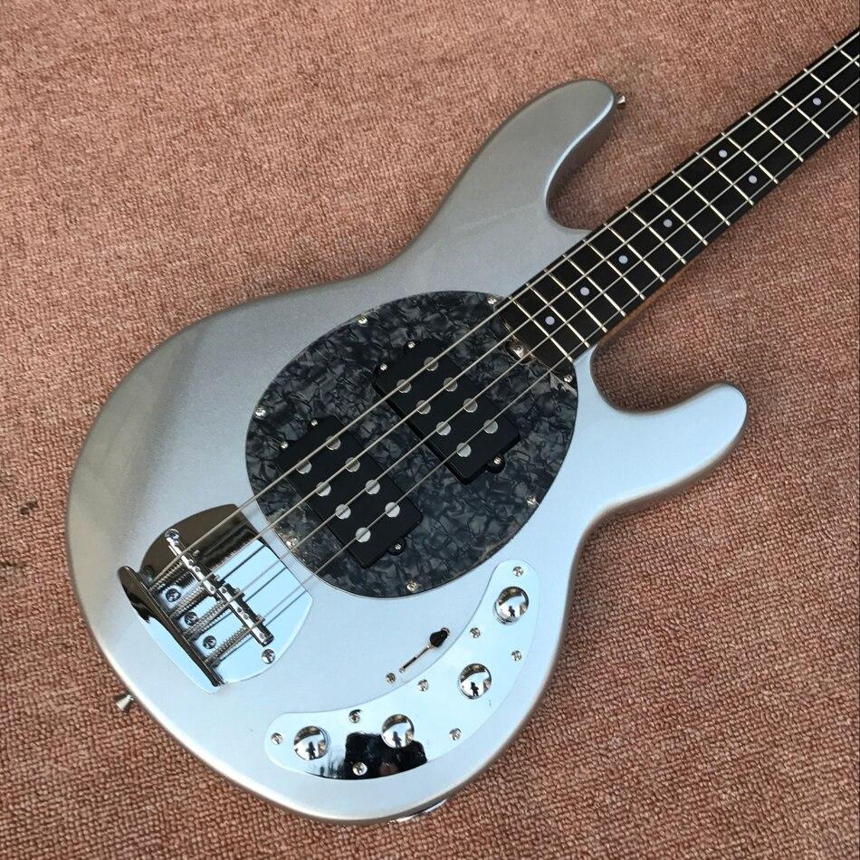 Electric guitar The best Hot shop, guitar, bass guitar, silver color, 4 string bass guitar