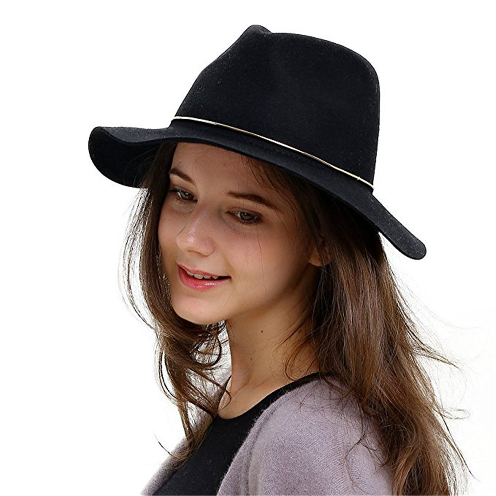 100% Wool Women Fedora Hat For Elegant Lady Winter Autumn Wide Brim Floppy Cashmere Gangsters Hipsters Jazz Hat Size 56-58CM