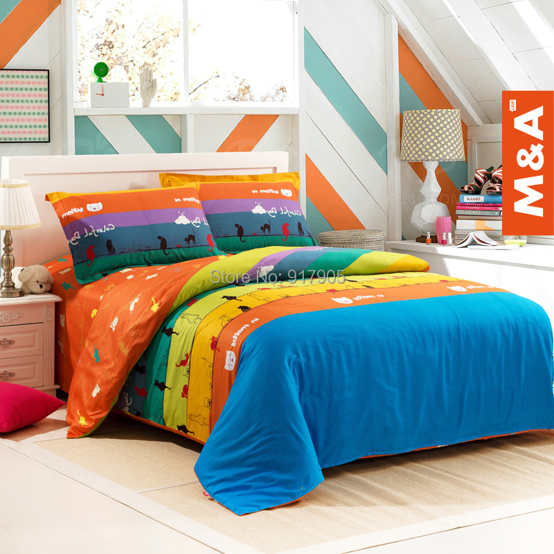 Romantic Colorful Rainbow Print Bedding Set Cute Kids Character ...