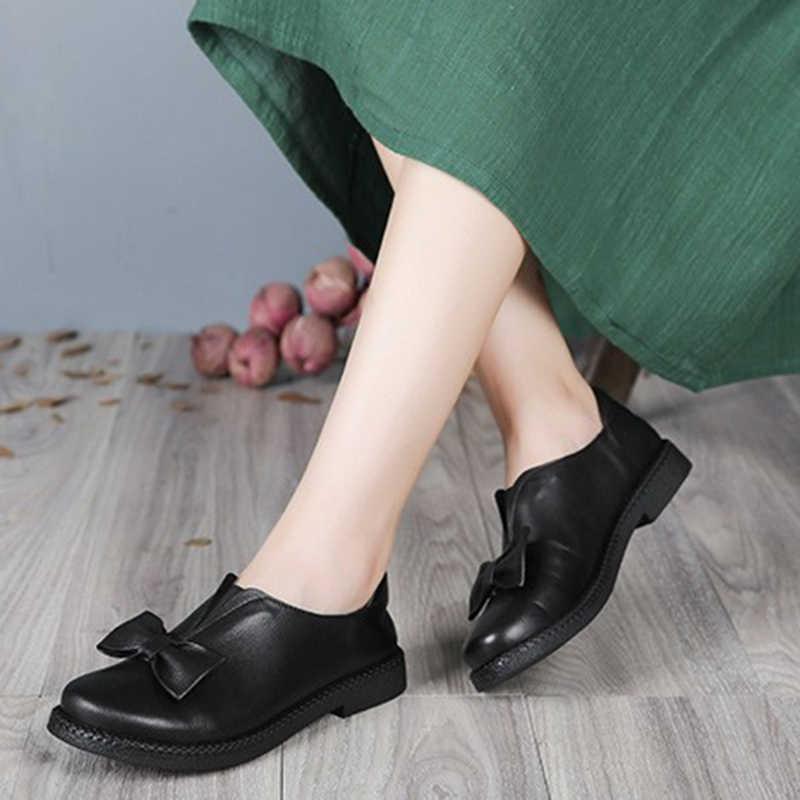 2019 VALLU nueva llegada zapatos de mujer tacones planos de cuero genuino Bowtie punta redonda plataforma negro talla grande 10