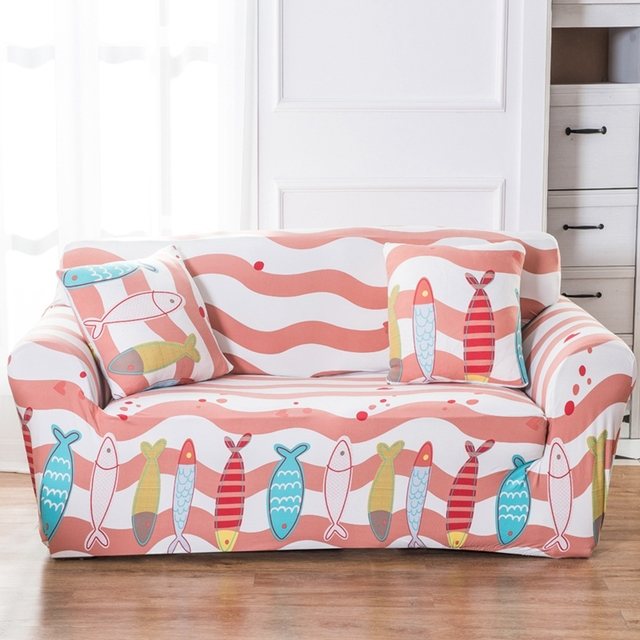 Fish pattern universal stretch sofa cover for living room 100 ...