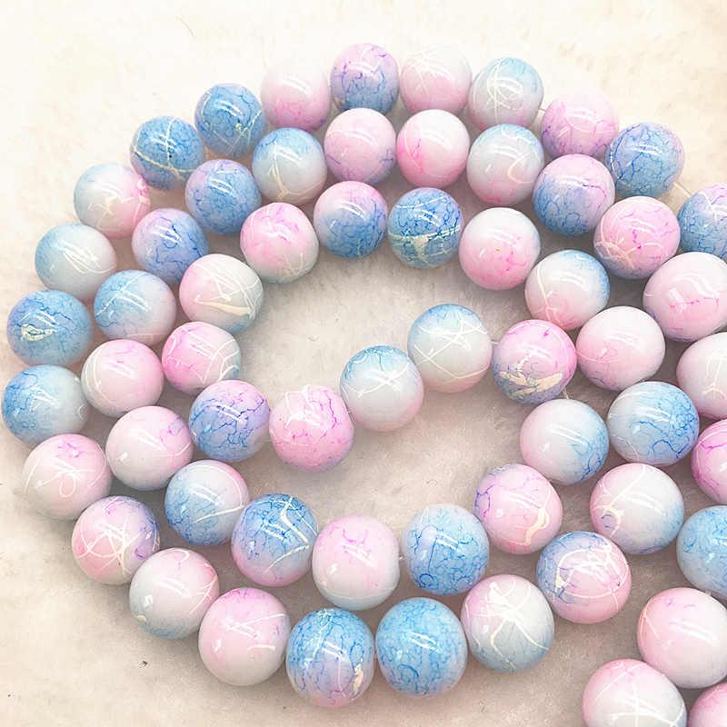 Großhandel 4/6/8/10mm licht rosa & blau Glas Perlen Runde Lose Spacer Perlen Muster für Schmuck Machen DIY Armband Halskette #14
