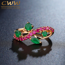 CWWZircons Natural Green And Red Semi Precious Stone Pave Yellow Gold Color Vintage Women Wedding Band Ring R058