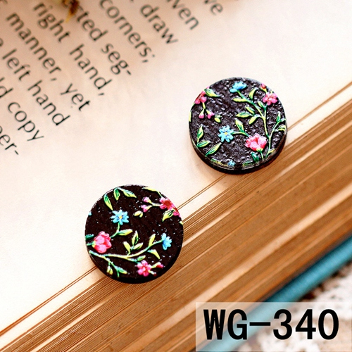 US $5 56 20% OFF 10PCS 339 361 3D Laser Cut wood Cabochon Embossed 16mm  Round Coloured Drawing pattern DIY for Rings, Earring,Brooch,Necklace-in  Beads