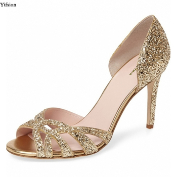 Yifsions New Women Glitter Sandals Thin High Heels Sandals Nice Open Toe Gold Silver Wedding Shoes Ladies US Plus Size 3-10.5