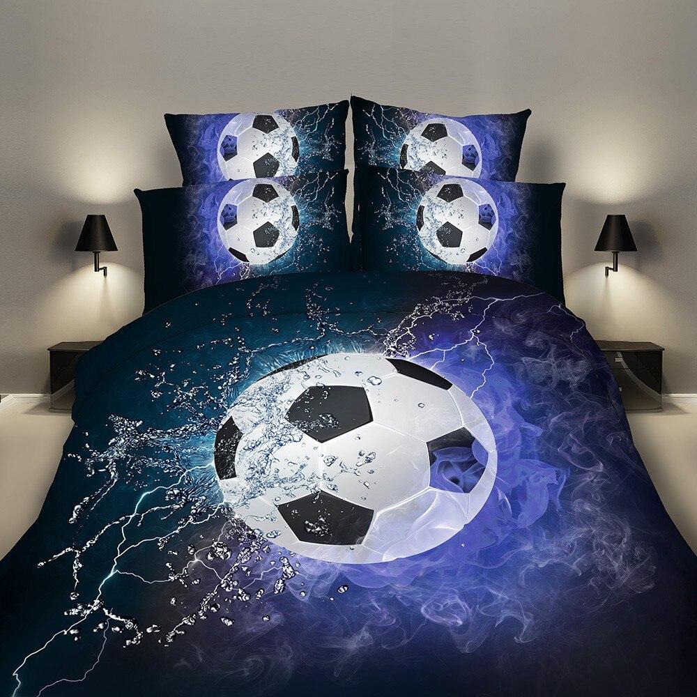 Set di biancheria da letto 2/3 pz 3D Copripiumino Letto Copriletto Cuscino Custodie Formato EU/CN/US Queen re Blu Calcio focolai