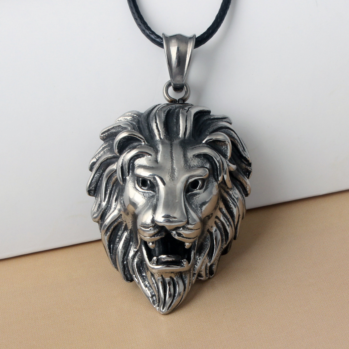 Hip Hop Big Lion Head Pendant & Necklace Animal King Vintage Stell Color Hiphop Rope Chain For Men Women Jewelry Gift WC0137 ...