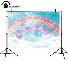 Allenjoy 사진 배경 반짝이 무지개 하늘 구름 유니콘 배경 photocall photobooth 사진 촬영 소품 스튜디오 패브릭