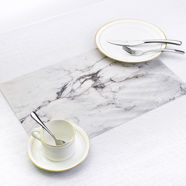 Marble Pattern Stripe Place mat PVC Table Mat Dishware Coasters For Kitchen Accessories Wedding Party Home Decoration Mat P20