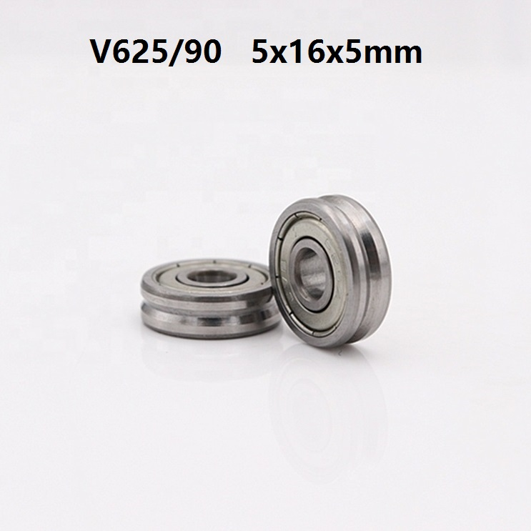 100pcs/lot V625ZZ V625/90 625VV 5x16x5 mm V groove ball <font><b>bearing</b></font> guide track roller wheel <font><b>bearing</b></font> pulley <font><b>bearing</b></font> <font><b>5*16*5</b></font> image