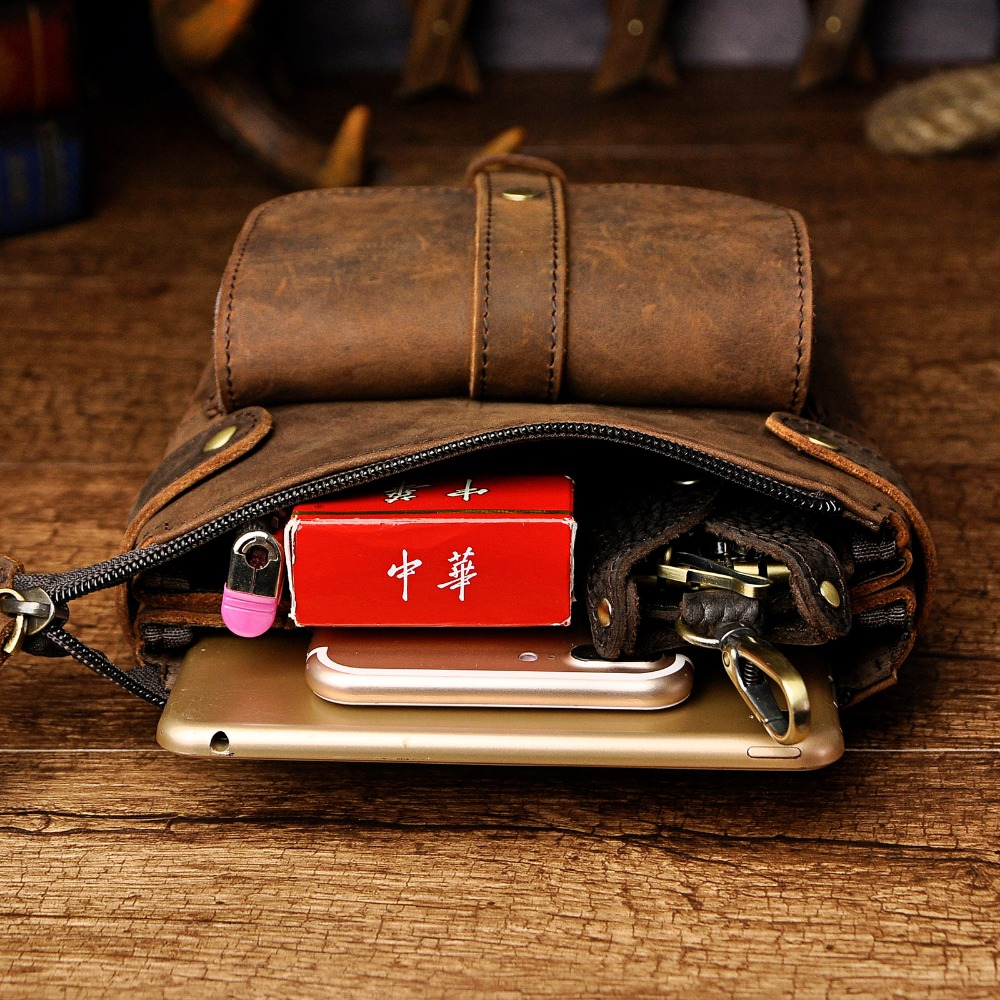 Mode äkta läder multifunktion casual midja pack cross-body väska - Bälten väskor - Foto 5