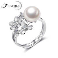 Real Natural Freshwater Pearl Rings,Wedding Adjustable 925 Silver Ring Jewelry Girl Best Gift