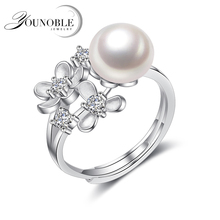 YouNoble Real freshwater pearl rings women,pearl 925 silver jewelry adjustable ring wi