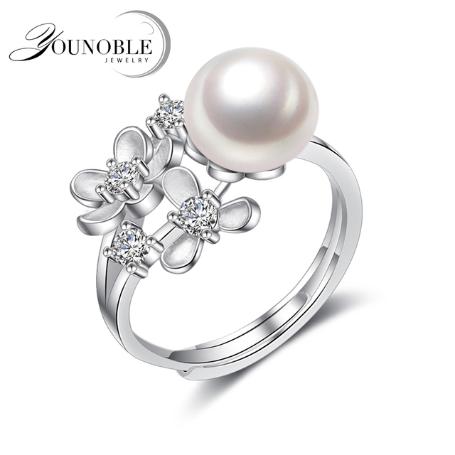 YouNoble Real Natural Freshwater Pearl Rings,Wedding 925 Silver for women Jewelr